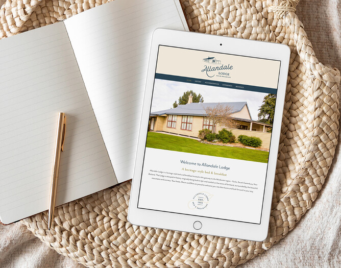 ABOVE: Completed website design & logo project for Allandale Lodge B&B